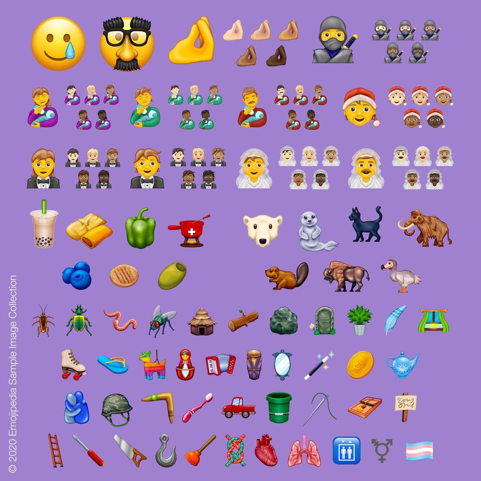 Illustration av de emojis som kommer att släppas under 2020, bild lånad från Emojipedia.org (© Emojipedia).