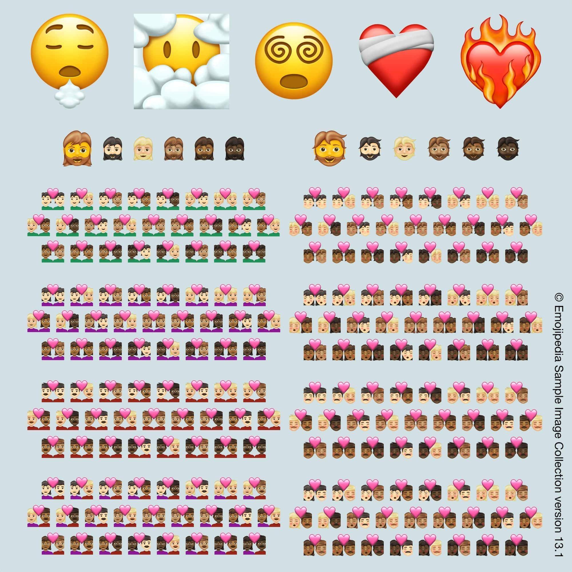 Illustration av de emojis som kommer att släppas under 2021, bild lånad från Emojipedia.org (© Emojipedia).